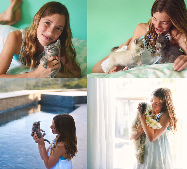 Girl and pets
